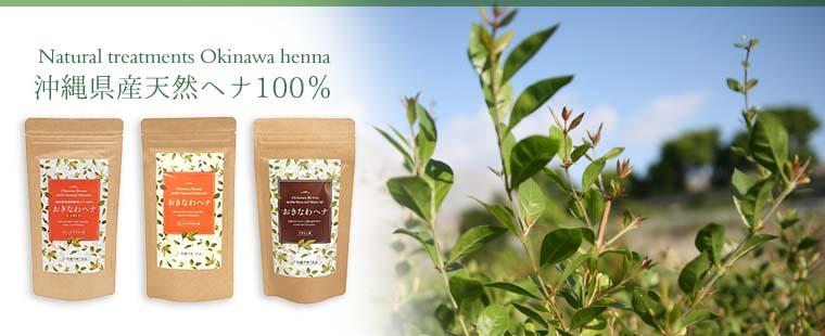 沖縄県産天然ヘナ100%使用の安心安全の植物性トリートメント、髪や頭皮を傷めず、健やかに保ちます